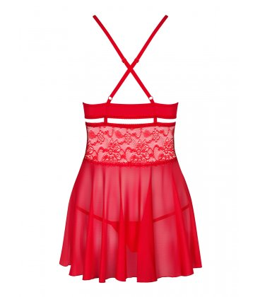 Obsessive - 838 Babydoll & Thong, Red