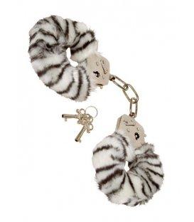 Handbojor med fluff - zebra